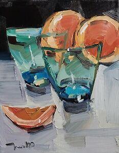 JOSE TRUJILLO Oil Painting IMPRESSIONISM CONTEMPORARY Still Life Orange Slices