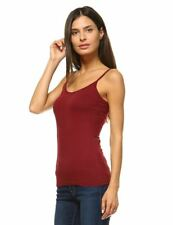 ANNA WOMEN'S CAMIS TANK TOP STRETCH CAMISOLE LAYERING PLAIN TEE RED BURGUNDY