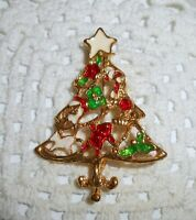 Vintage Enamel Christmas Tree Brooch Pin Gold Tone Santa Candy Cane Horse  C16