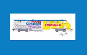 "VIA Rail Canada 150 Anniversary P42DC 11""x17"" Matted Print Andy Fletcher signed"