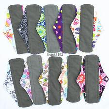 6 Medium Charcoal Bamboo Cloth Reusable Menstrual Sanitary Maternity Mama Pads