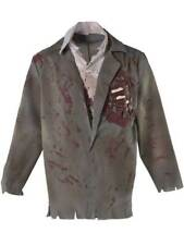 Mens Halloween Zombie Blood Spatter Jacket & Mock Shirt Fancy Dress Costume