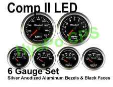 Comp Ii 2 Sport Led 6 Gauge Auto Gauge Meters Black With Silver Bezels Made In Usa