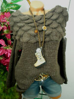 36 38 TREND ITALY FASHION★ WOLLE ★PULLOVER★STYLE★CARMEN★GROB STRICK★WEICH★SCHOKO