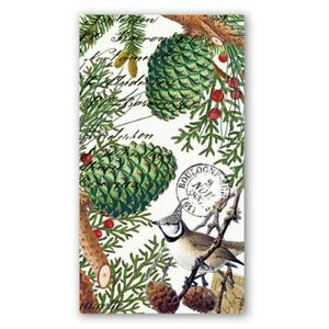 Michel Design Works 15 Triple-Ply Paper Hostess Napkins Spruce Cones Berries NEW