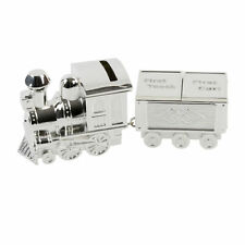 First Tooth & Curl Carriage With Train Shape Silver Plated Money Box by Juliana