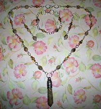 HAND MADE PICTURE JASPER & SWAROVSKI CRYSTAL NECKLACE/BRACELET AND EARRINGS