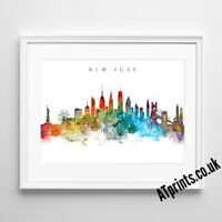 NEW YORK SKYLINE MAP Print Poster Watercolour Framed Canvas Wall Art Gift CITY