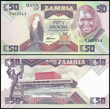 Bank of Zambia 50 Kwacha 1988 genuine uncirculated banknote for collectors (130)