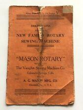 Vtg 1919 Sewing Machine Mason Rotary Instruction Booklet