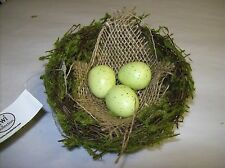 """4.5"""" Decorative Bird Nest with Three Light Green Speckled Eggs Nestled in Burlap"""