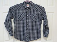 Levis Mens Large Gray/Black Plaid Pearl Snap Button Shirt Red Tab Western