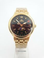ASTRON GENTS CALENDAR GENTS GOLD PLATED WATCH NEW DAY DATE MONTH 40MM RA11