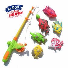 7PCS Rod Bath Time Game Pole Magnetic Fishing Toy Fish Set Model Kids Baby AU