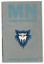 2002 Minnesota Timberwolves Pocket Schedule