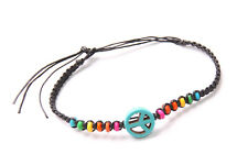 String Bracelet w Colourful Beads(T459) Great Hippie Times Inspired Unisex Black