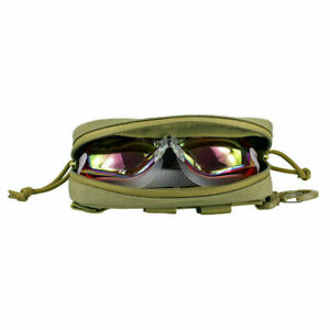 Molle Portable Glasses Case Pouch Eye Glasses Shockproof Protective Box Tan