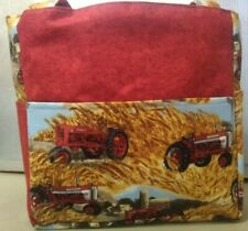 farmall tractor country barn farming field hay purse project bag handmade