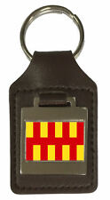 Leather Keyring Engraved Northumbria County England Flag
