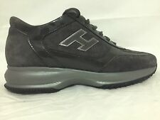 HOGAN INTERACTIVE WOMAN SHOES H FLOCK GRAY SUEDE PATENT TRAINERS SNEAKERS S. 39