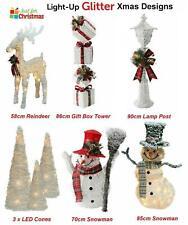 Christmas Decoration Light Up Glitter Reindeer Snowman Lamp Post Tree Cones