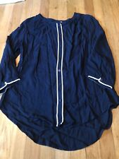 JCP PENNEYS Women's Blue White Button Down Top Size Medium