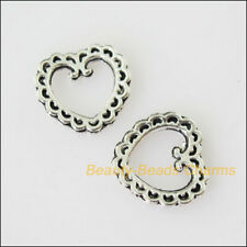 40 New Tiny Heart Circle Tibetan Silver Tone Charms Pendants 10mm