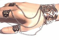 SILVER FILIGREE BANGLE SLAVE BRACELET cuff rings chained set boho festival 1F