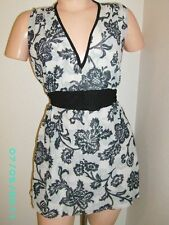WHITE HOUSE BLACK MARKET Mesh Tie Back Floral Print Sleeveless Top S