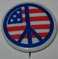 1970's Peace - US Flag Protest Pin 1.25""