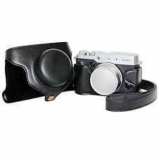Black PU Leather Camera Case Bag for  Fujifilm X30 Camera + Shoulder Strap Black