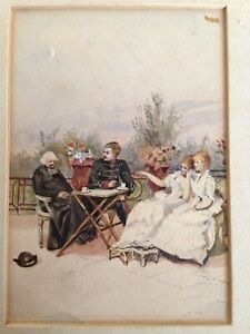 Beautiful Madeleine Lemaire?  1845 - 1928 Watercolour In Gilt Frame - 19 Century