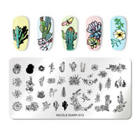 NICOLE DIARY Nail Stamping Plates Flower Cactus Butterfly Nail Stamp Image Plate