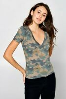 Army Camo Print T-Shirt Deep V-Neck Soft Knit Short Sleeve Tee Camouflage Top