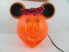 """Minnie Mouse Light Up Pumpkin Halloween JOL Pink Polka Dot Bow 11.25"""" Disney"""