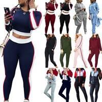 2Pcs Women Tracksuit Hoodies Sweatshirt + Pant Set Ladies Sportwear Casual Suit