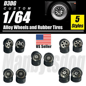 1/64 Scale Alloy Wheels with Rubber Tires NEW 1:64 Wheels & Tire Sets  US Seller