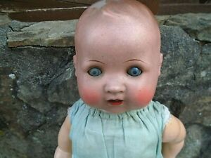 """ANTIQUE/VINTAGE BISQUE HEAD BABY DOLL MARKED A.S. FOREIGN-18"""" LONG"""