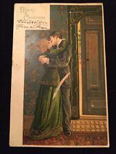 Vintage Christmas Postcard Couple Kissing UDB Damaged Mailick