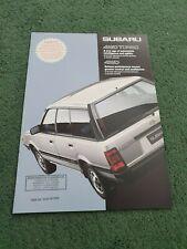 SUBARU 4WD ESTATE SALOON COUPE TURBO 1987 1988 UK BROCHURE Leone BRIAN LEIGHTON