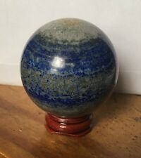 UK NEW UNIQUE NATURAL BLUE LAPIS LAZULI CRYSTAL SPHERE BALL + STAND