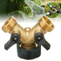 2Way Brass Hose Pipe Valve Splitter Y shaped Connector Adaptor Durable Tap AU
