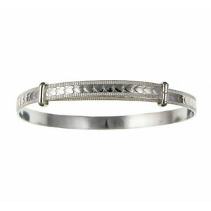 Sterling Silver 4mm Heart Pattern Expanding Bangle Womens / Childs / Babies NEW