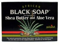 Madina African Black Soap Shea Butter and Aloe Vera, 3.5 oz (Pack of 2)