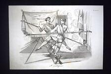Incisione d'allegoria e satira Francesco V, Carlo III, Austria Don Pirlone 1851