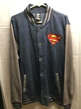 Superman Embroidered DC Comics Varsity Jacket Sweatshirt Mens Size L EUC!