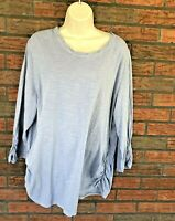Coldwater Creek 3/4 Sleeve Shirt 2X Ruched Side Sleeve 100% Cotton Top Blouse