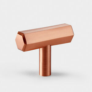 Modern Brushed Brass Copper Rose Gold Hexagonal T Bar Cupboard Door Pull Handle