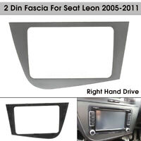 2 Din Stereo Radio Fascia Dash Panel Plate Frame RHD Gray For Seat Leon 05-11 #