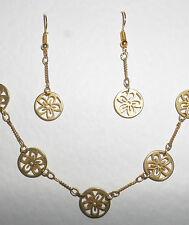 "PRETTY FLOWER NECKLACE & LONG EARRINGS SET MATT GOLD PLATED  14 -16"""